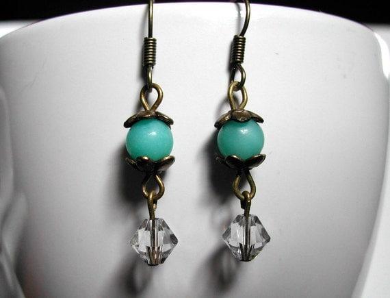 Earrings -- On the Lake -- Amazonite, Swarovski crystal, antique brass/bronze