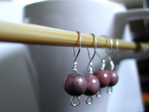 SALE 25% off: Stitch Markers (4) -- rhodonite beads, silver -- large