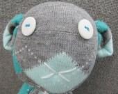 Monkey Sock Doll: Plushie Aqua and Gray Argyle Gangster Monkey Toy Upcycled Repurposed