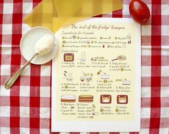 Print kitchen art 8x10 'End of the fridge lasagna recipe' Red