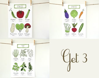 Food illustration Posters - Herbs & Summer Vegetables - Kitchen Art illustration art prints Set of 3 - 13x19 Kitchen Poster