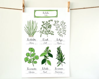 Herbs - French Kitchen Art Poster - Green Home Decor Botanical Plate 13x19 art print for a gourmet Aromatics Culinary gift for Mom