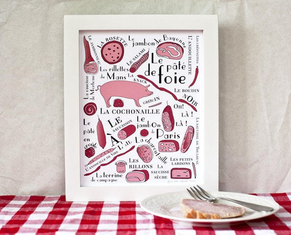 Kitchen Art - Giclée print 'French cold cuts' Food 8x10 art print Pork gift for him meat lover typographic print