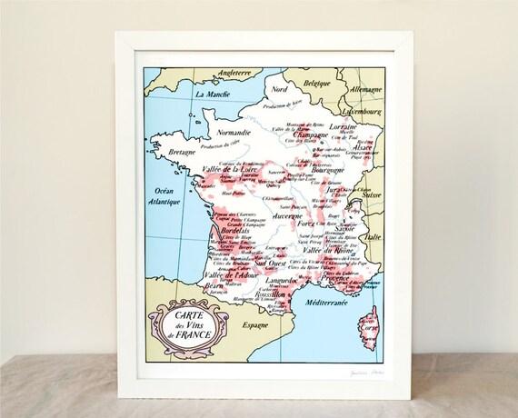 Wine Map of France 8x10 Fine Art Print cider beer Bordeaux Burgundy French Wall Art Vintage inspired Blue Men