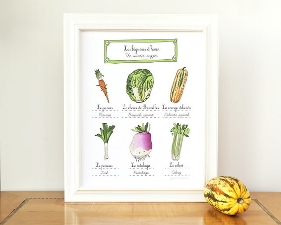 Food Art print - Winter vegetables - 11x14 - Kitchen art print (French food and vegetables series) Garden kitchen wall art Green Culinary