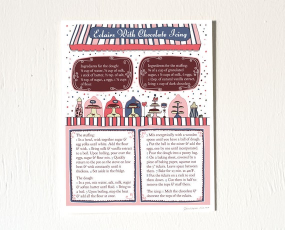 Kitchen decor art print recipe illustration 8x10 39 french for 8x10 kitchen designs