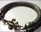 Fleur De Lis Antique Silver Mesh Bracelet / New Orleans Inspired / French / French Weddings /  Mardi Gras