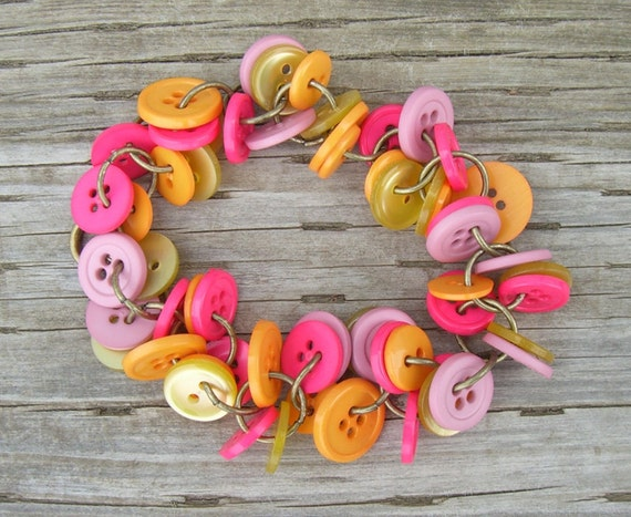 Button Bracelet, Hot Pink, Orange, Mauve Pink, Yellow, Button Jewelry