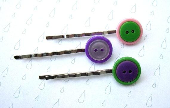 Button Bobby Pins, Set of Three, Pink, Purple, Green, Fun, Hair Pins for Girls, Teen Hair Accessories
