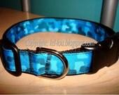 "1"" Adj Camo Print Dog Collar - PINK or BLUE - Medium"