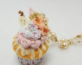 Lovely creamy pastel colors polymer clay cupcake keychain