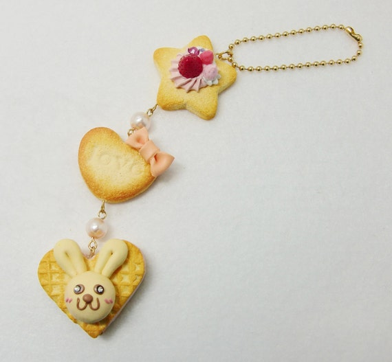 Reserved ---- Polymer clay Easter Bunny cookie charms keychain
