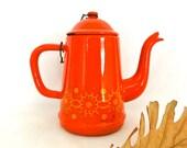 Vintage Enamel Coffee Pot Orange Water Pitcher Tea Pot