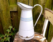 French Water Pitcher Enamelware Antique