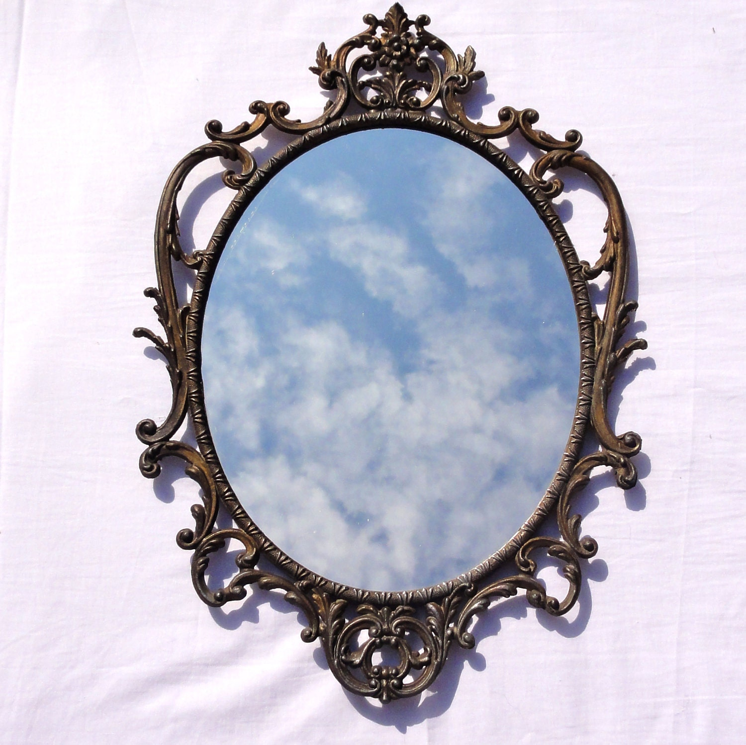Vintage wall mirror rococo style decorated antique by for Antique style wall mirror