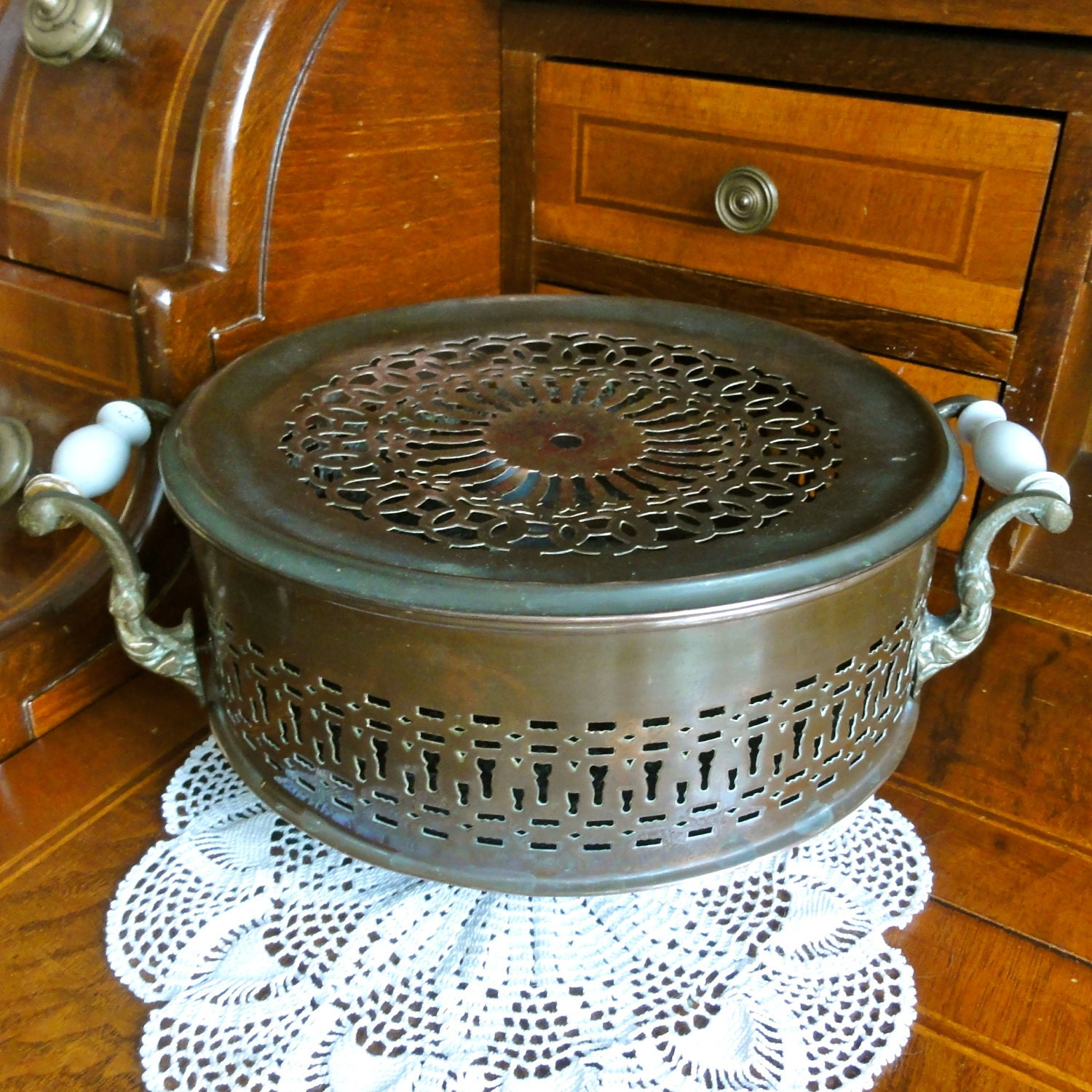 Cooking Warmers Vintage Fireplace ~ Vintage food warmer hot tray dish old by oldamsterdam