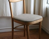 Brown and White Striped Wood Cafe Chair