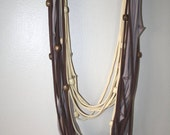 Mother Earth Tone T-shirt Scarf with Wooden Beads