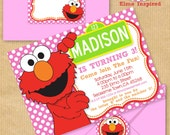 """Girls ELMO Party Invitation 5x7"""" with Address Labels, Now Includes Envelope Templates - DIGITAL files only - PERSONALIZED Print yourself"""