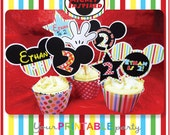 Mickey Mouse Cupcake Toppers & Cupcake Wrappers - PERSONALIZED - Print yourself