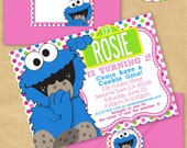 "Girls COOKIE MONSTER Party Invitation 5x7"" with Address Labels & Envelope Template - DIGITAL files only - Personalized Print yourself"