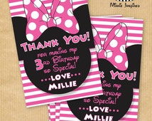 """NEW Minnie Mouse Inspired Thank You Cards - 6x4"""" - DIGITAL files only - PERSONALIZED - Print yourself"""