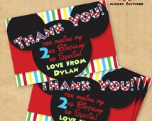 """NEW Mickey Mouse Inspired Thank You Cards - 6x4"""" - DIGITAL files only - PERSONALIZED - Print yourself"""