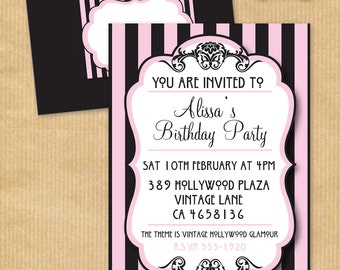 "Vintage Hollywood Glamour Party INVITATION 5 x7"" with Wrap around Address Label- PERSONALIZED Print yourself - by Your Printable Party"