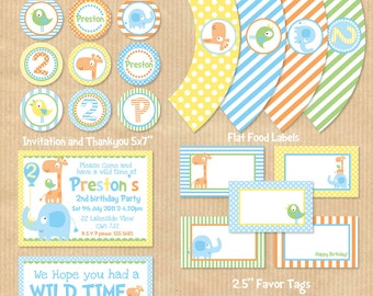 DELUXE DIY Printable Party Package - Cute Elephant, Giraffe, Safari theme -  Print Yourself (NEW). by Your Printable Party