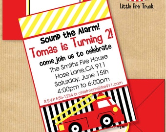 "Little Fire Truck Birthday Party INVITATION 5x7"" with Address Labels & Envelope Template- DIGITAL files only -PERSONALIZED Print yourself"