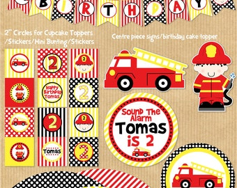 Fire Truck Party Package -  PERSONALIZED Print Yourself (NEW). by Your Printable Party