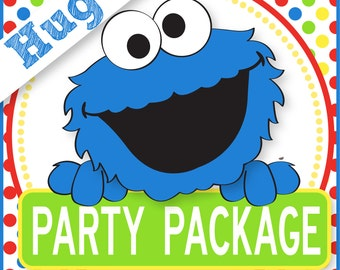 COOKIE MONSTER Party Package  -  Personalized - Print Yourself . by Your Printable Party