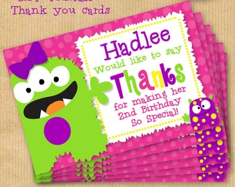 "Girls Little Monster BirthdayThank you card 6x4"" - DIGITAL files only -PERSONALIZED Print yourself"