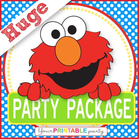 ELMO Party Package  -  PERSONALIZED - Print Yourself . by Your Printable Party