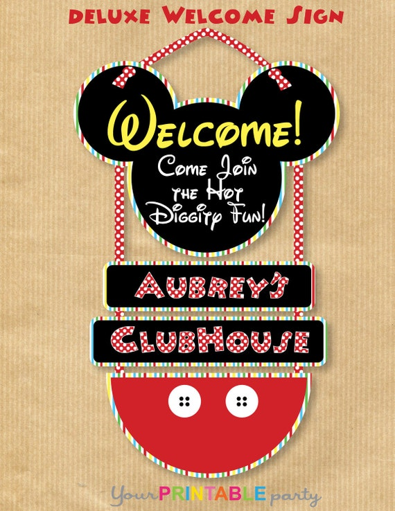 Mickey Mouse inspired DELUXE WELCOME sign - PERSONALIZED - Print & Assemble yourself
