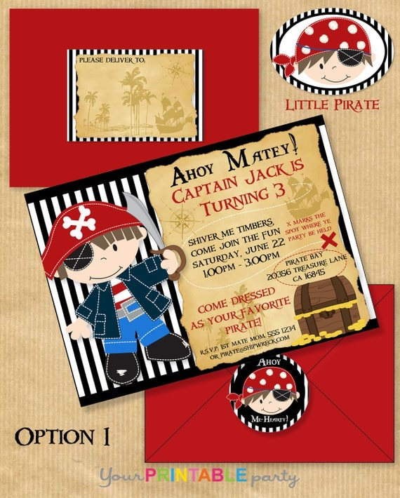 """Little PIRATE Deluxe Birthday Party INVITATION 5x7"""" with Address Labels & Envelope Template - DIGITAL files only -Print yourself"""