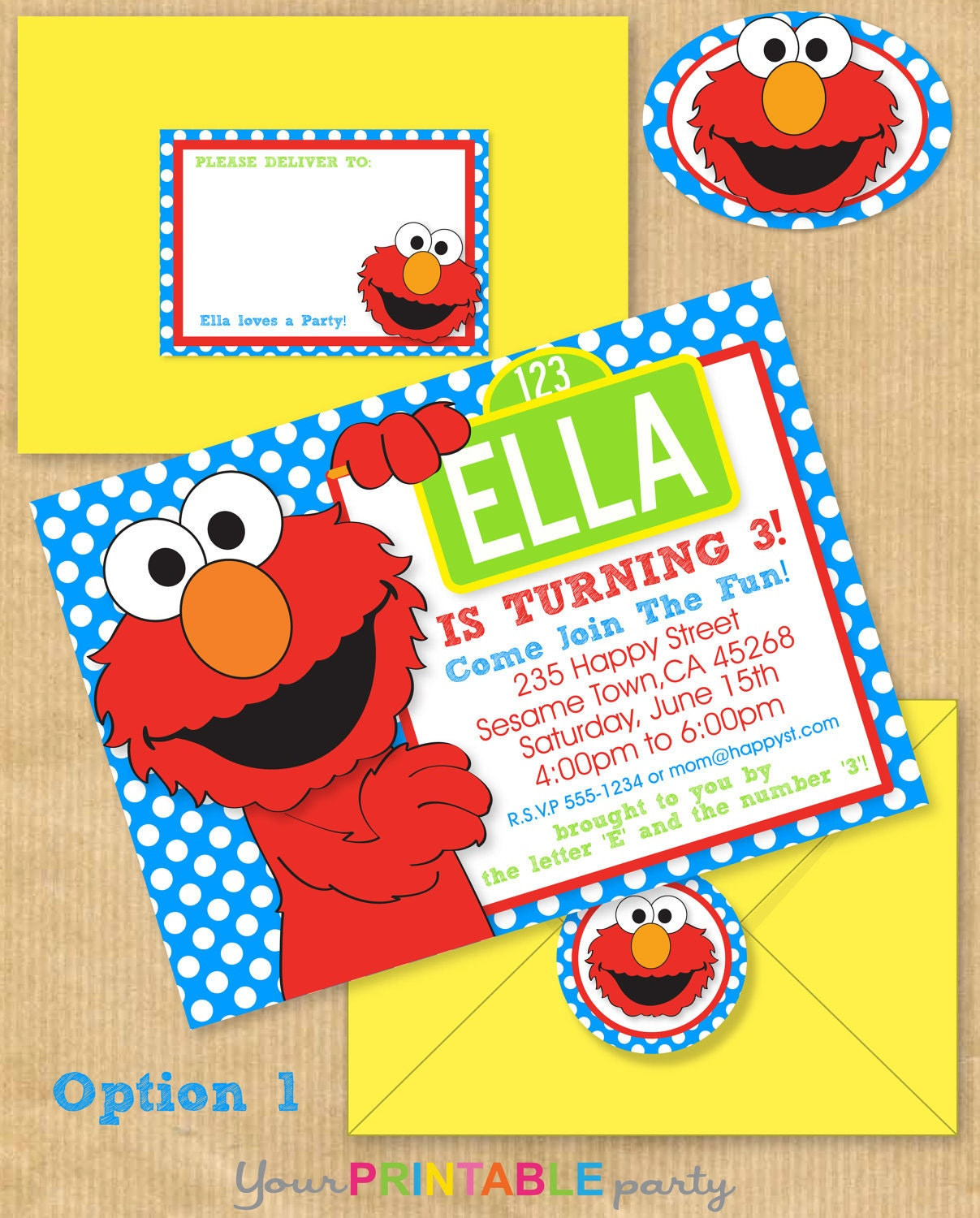Elmo party invitation 5x7 with address by yourprintableparty for Elmo template for invitations