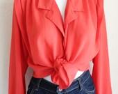 Vintage 1980s Susan Hutton Coral Button Up Shirt, Blouse