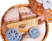 Keepsake Box Baby Girl Carriage-First Tooth & Curl Ceramic Set