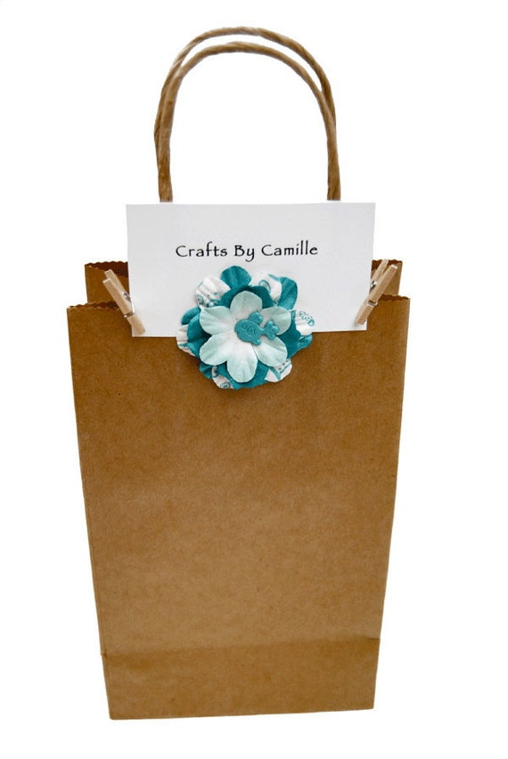 Favor Bags-Blue Mulberry Paper Flowers