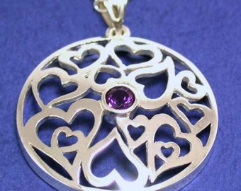 Amethyst Sterling Silver Necklace With Ornamental Hearts, Feb. Birthstone