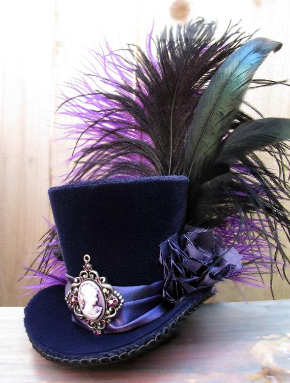 Tiny Top Hat / Mini Top Hat / Purple Velvet / Cameo / Feathers