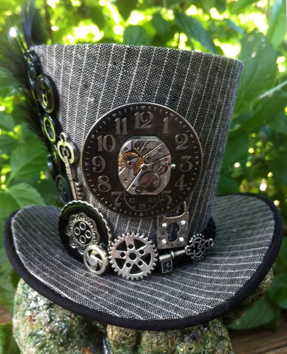 Tiny Top Hat - Steampunk - Mini Top Hat -  Grey Pinstripe, Clock, Gears, Key, Keyhole, Button