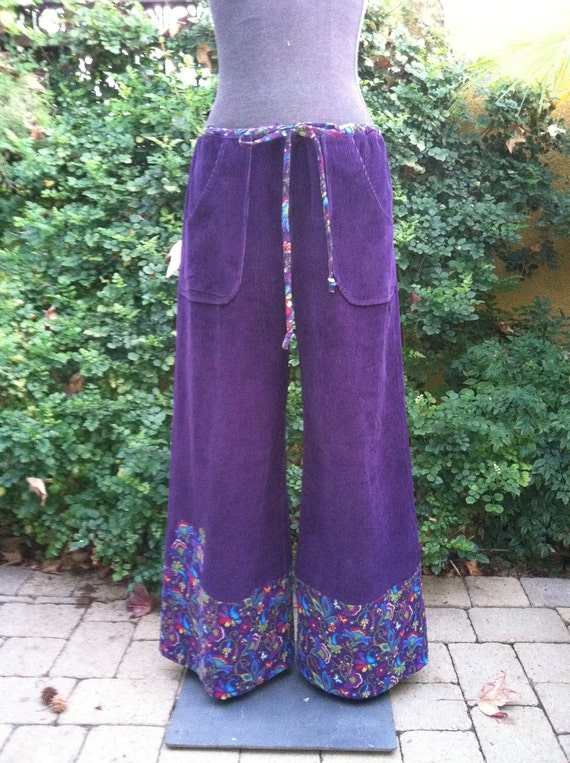 Handmade Hippie Patchwork Pants Purple Corduroy by frans2hands