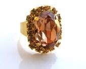 Smoked Topaz Swarovski Crystal Ring