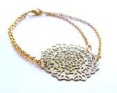 Chain Filigree Bracelet Gold Plated Medallion