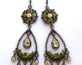Chandelier Earrings. Olive Green and Lime Green Crystals Chandelier Dangle Earrings