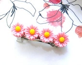 Pink Floral French Barrette