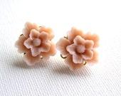 Pink Rose Flower Studs Earrings