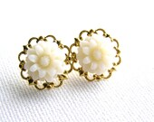 White Flower Studs Earrings